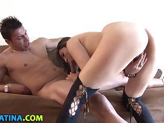 Latina Chick With A Nice Rear Masturbates And Gets Fucked