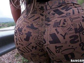 Hitchhiking Whore Sandra Showing Her Big Ass Roadside